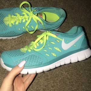 Shoes - Neon green and blue NIKES